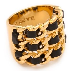 Leather and gold plated chain link ring